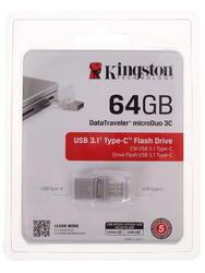 Память OTG USB Flash Kingston DataTraveler MicroDuo 3C  64 Гб